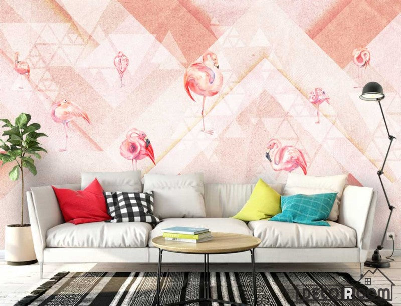 Pink Flamingo Fashion  Abstract Geometric wallpaper wall murals IDCWP-HL-000506