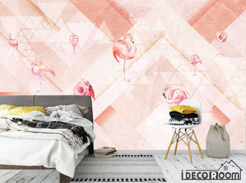 Image of Pink Flamingo Fashion  Abstract Geometric wallpaper wall murals IDCWP-HL-000506