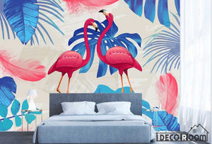 Modern minimalist abstract flamingo wide leave wallpaper wall murals IDCWP-HL-000508