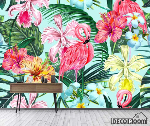 Nordic abstract  flamingo banana leaf wallpaper wall murals IDCWP-HL-000527