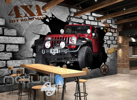 Image of 3D 4X4 Jeep Car Breakthrough Brick Wall Art Wall Murals Wallpaper Decals Prints Decor IDCWP-JB-000249