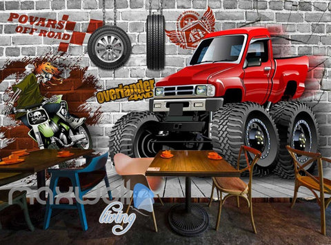 Image of Graphic Design Truck And Motorbike Breaking Through Wall Art Wall Murals Wallpaper Decals Prints Decor IDCWP-JB-000383