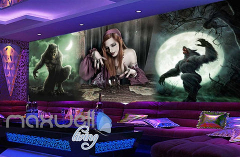 Image of 3d  with magician and wolves Art Wall Murals Wallpaper Decals Prints Decor IDCWP-JB-000452