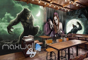 3d  with magician and wolves Art Wall Murals Wallpaper Decals Prints Decor IDCWP-JB-000452