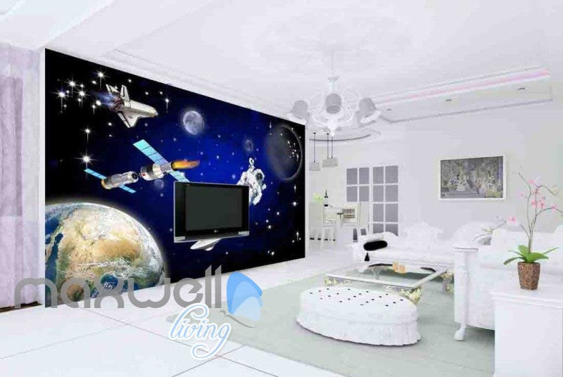 3D Abtract Planets With Astronaut Art Wall Murals Wallpaper Decals Prints Decor IDCWP-JB-000675