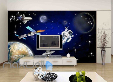 Image of 3D Abtract Planets With Astronaut Art Wall Murals Wallpaper Decals Prints Decor IDCWP-JB-000675