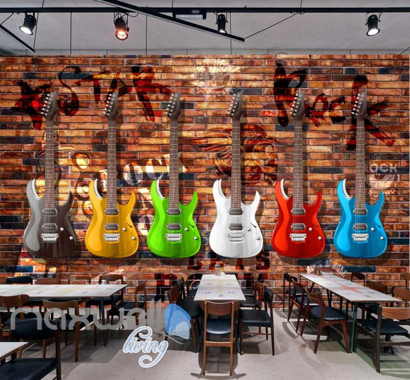 Colourful Graphic Design Electronic Guitars Brick Wall Art Wall Murals Wallpaper Decals Prints Decor IDCWP-JB-000787