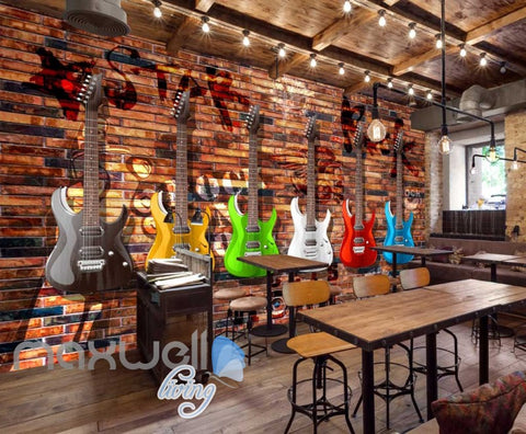 Image of Colourful Graphic Design Electronic Guitars Brick Wall Art Wall Murals Wallpaper Decals Prints Decor IDCWP-JB-000787