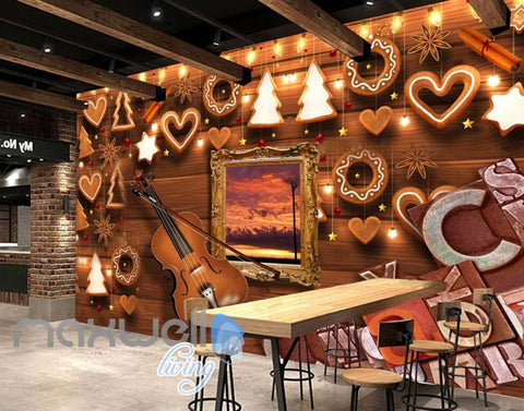 Image of Wooden Wall Violin And Christmas Decoration Art Wall Murals Wallpaper Decals Prints Decor IDCWP-JB-000803