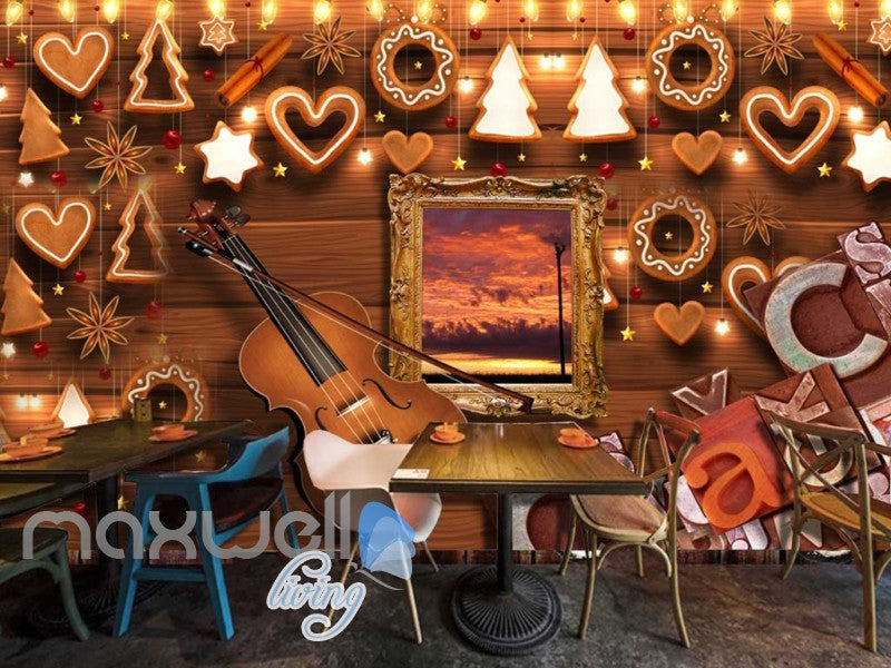 Wooden Wall Violin And Christmas Decoration Art Wall Murals Wallpaper Decals Prints Decor IDCWP-JB-000803