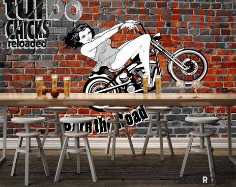 Image of Brick Wall 3D Black And White Motorbike Woman Drawing Restaurant Art Wall Murals Wallpaper Decals Prints Decor IDCWP-JB-001113