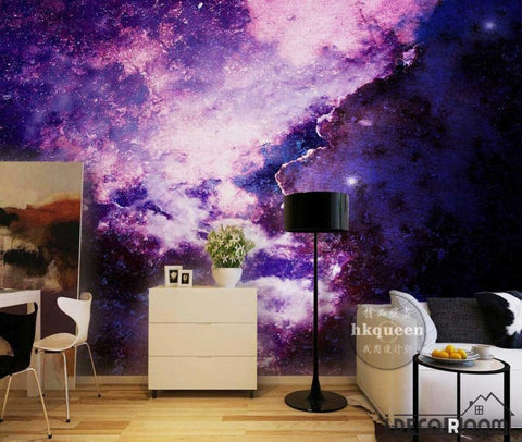 Image of Graphic Design Purple Space Living Room Art Wall Murals Wallpaper Decals Prints Decor IDCWP-JB-001147