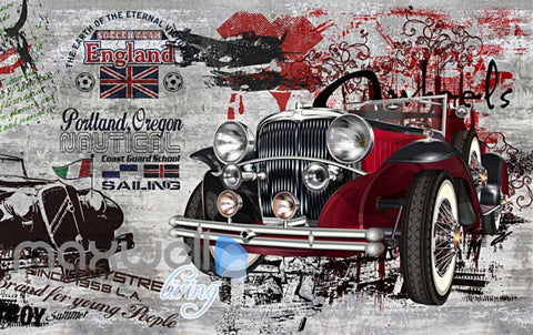 Image of 3D Graffiti Vintage Car interior Art Wall Murals Wallpaper Decals Prints Decor IDCWP-TY-000277