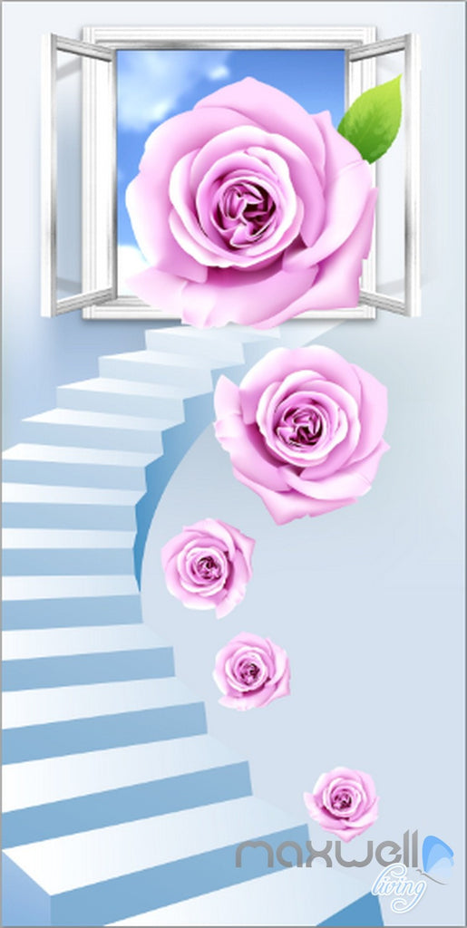 3D Rose Stair Window Corridor Entrance Wall Mural Decals Art Print Wallpaper 026