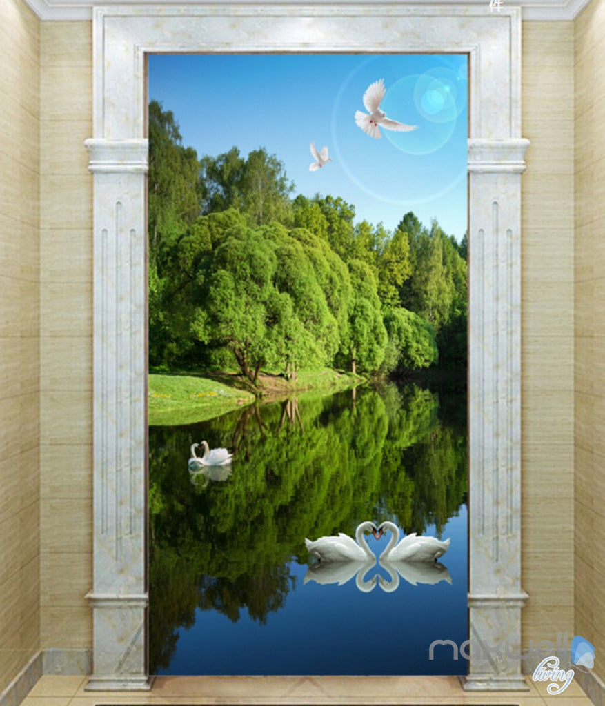 3D Swan Lake Forest Corridor Entrance Wall Mural Decals Art Print Wallpaper 045