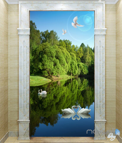 Image of 3D Swan Lake Forest Corridor Entrance Wall Mural Decals Art Print Wallpaper 045