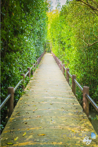 Image of 3D Green Leaves Tree Lane Corridor Entrance Wall Mural Decals Art Print Wallpaper 054