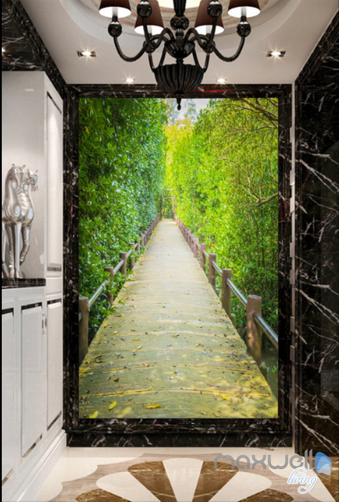 3D Green Leaves Tree Lane Corridor Entrance Wall Mural Decals Art Print Wallpaper 054