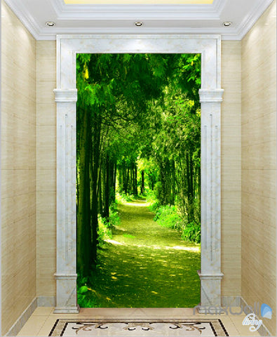Image of 3D Green Forest Sunbeam Corridor Entrance Wall Mural Decals Art Print Wallpaper 060