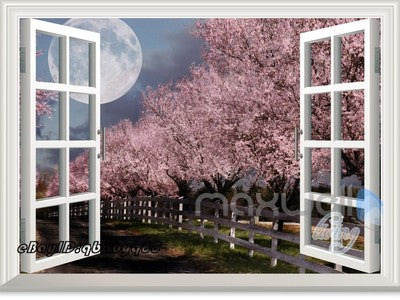 Peach Blossom Tree Moonlight 3D Window View Removable Wall Decals Home decor Mural Wall Stickers