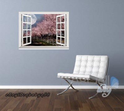 Image of Peach Blossom Tree Moonlight 3D Window View Removable Wall Decals Home decor Mural Wall Stickers