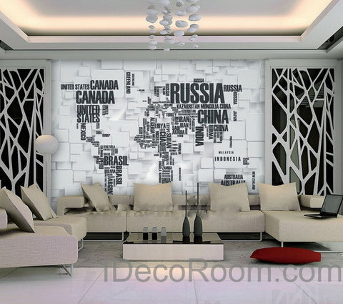Image of 3D Abstract World Map Wallpaper Wall Decals Wall Art Print  Wall Mural Home Decor Indoor Office Business Deco