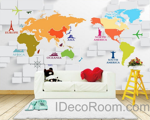 3D Abstract World Map Sign Wallpaper Wall Decals Wall Art Print Wall Mural Home Decor Indoor Office Business Deco