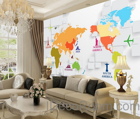 Image of 3D Abstract World Map Sign Wallpaper Wall Decals Wall Art Print Wall Mural Home Decor Indoor Office Business Deco