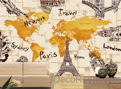 Image of 3D Architecture World Map Wallpaper Wall Decals Wall Art Print Mural Home Decor Indoor Office Business Deco