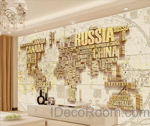 Image of Abstract World Map Nation 3D Wallpaper Wall Decals Wall Art Print Mural Home Decor Indoor Office Business Deco