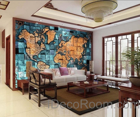 3D Blue Ocean Abstract World Map Wallpaper Wall Decals Wall Art Print Mural Home Decor Indoor Office Business Deco