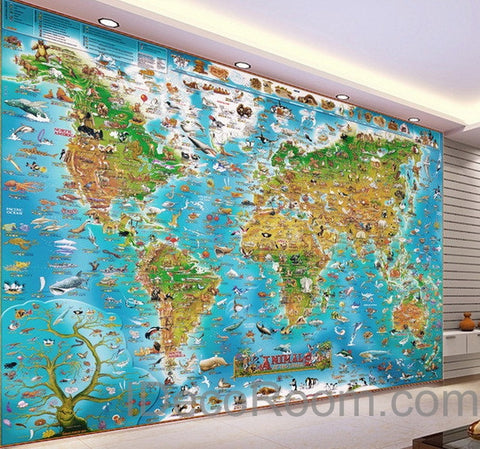 Image of 3D Animals Abstract World Map Wallpaper Wall Decals Wall Art Print Mural Home Decor Kids Nursery Office Business Childcare Deco Public School