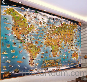 3D Ancient Animals Catoon World Map Wallpaper Wall Decals Wall Art Print Mural Home Decor Kids Nursery Office Business Childcare Deco Public School