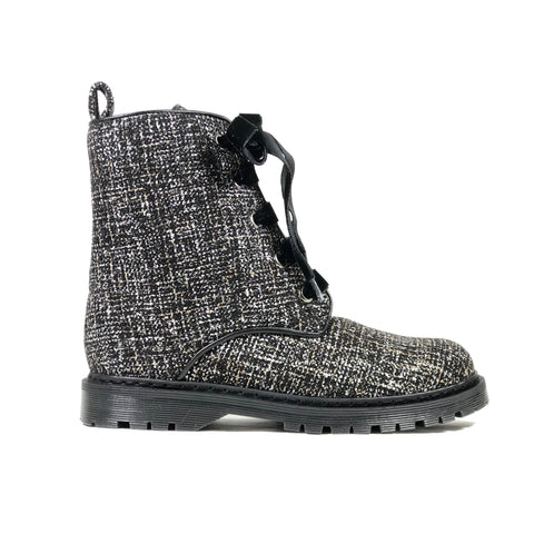 'Billie' Silver/Black textile vegan combat boots by Zette Shoes