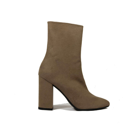 'Lisa' vegan-leather Chelsea bootie by Zette Shoes - taupe