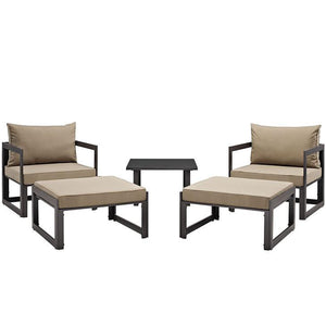 Alfresco 5 Piece Outdoor Chair & Ottoman Set Chairs Free Shipping