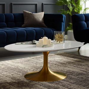 "Tulip Style 42"" Gold Oval Shaped Coffee Table"