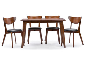 Alexandre Walnut Brown Mid-Century Style 5-Piece Dining Set Chairs Free Shipping