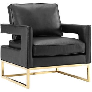 Alfred Leather Lounge Chair Black Chairs Free Shipping