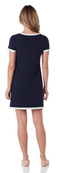Jude Connally Parker Dress In Navy/Ivory