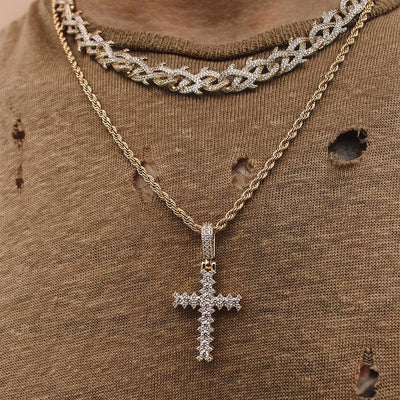 Flooded Diamond Cross Necklace in Gold *NEW*