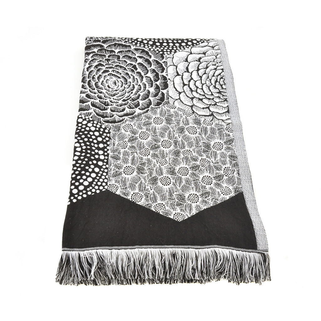 Black and White Woven Linen/Cotton Throw - Chinese homewares- Rouge Shop antique stores London - city furniture