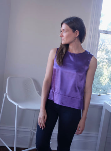 Auden Silky Button Back Top - Purple