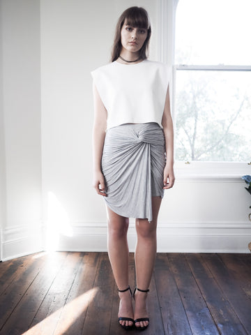 Avery Knot Detail Jersey Skirt - Grey - HELLO PARRY Australian Fashion Label