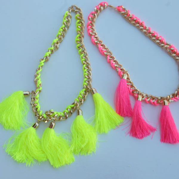 Neon Tassels Chain Necklace - HELLO PARRY Australian Fashion Label