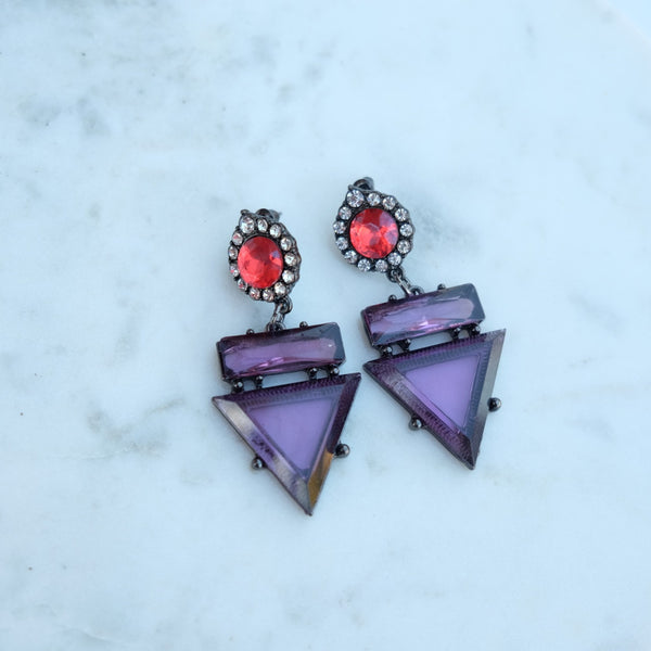 Violet Labyrinth Earrings - HELLO PARRY Australian Fashion Label