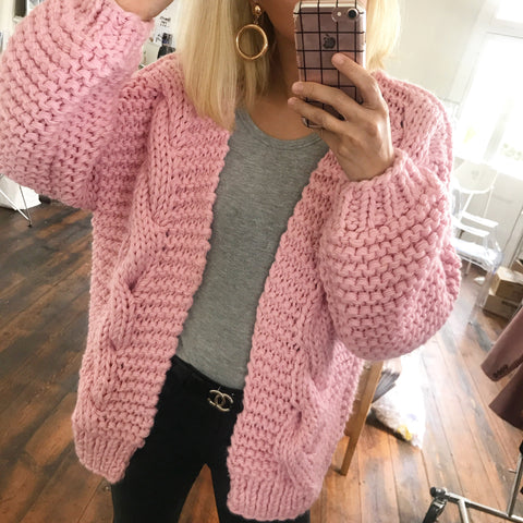 Annie Hand knitted Cable Wool Blend Cardigan -Pink