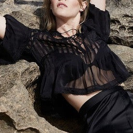 Cigarette Pleats in Lashings of Lace Top - HELLO PARRY Australian Fashion Label