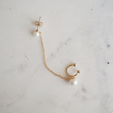 Rowena Double Pearl Chain Studs - HELLO PARRY Australian Fashion Label
