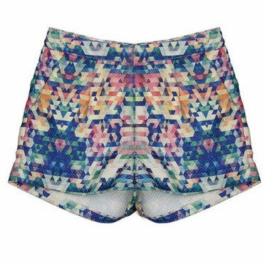 Ava Geometric Print Shorts - HELLO PARRY Australian Fashion Label